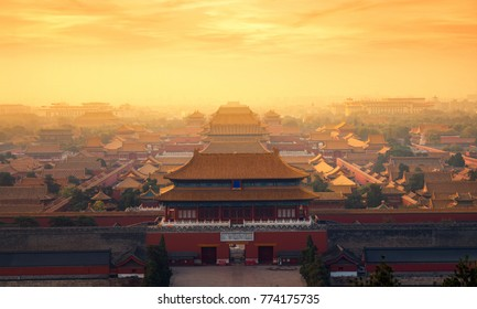 The Forbidden Palace with morning sunrise in beijing city, China