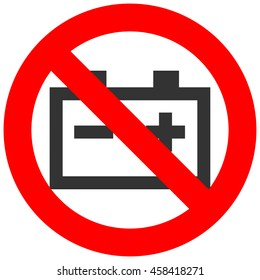 Forbidden sign with accumulator icon isolated on white background. Accumulator is prohibited illustration. Accumulator is not allowed image. Accumulators are banned.