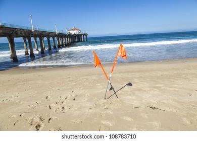 forbidden sign at beautiful Hermosa Beach in California