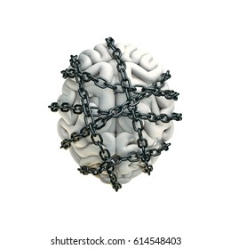 Forbidden thoughts concept / 3D illustration of human brain bound with metal chain