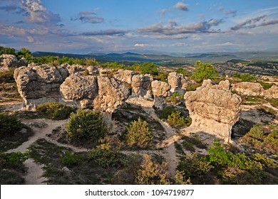 Forcalquier, Provence, France: Rochers des Mourres, strange geological formation in a plateau of the Alpes-de-Haute-Provence
