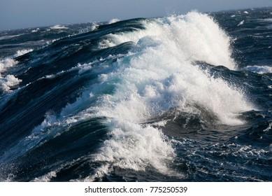 Force Nine gale at sea in the North Atlantic Ocean.