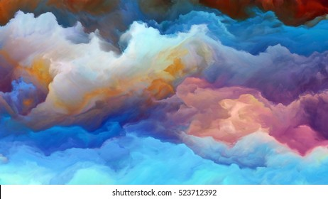 Forces In Nature 4K format. Abstract design made of surreal colors and digital painting on the subject of fiction, dreams and imagination