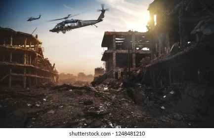 forces/swat in helicopter in destroyed city