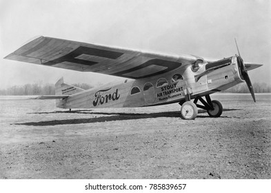 Ford commercial Tri-motor was one of the first planes used by U.S. passenger airlines, 1925. It was nicknamed the 'Tin Goose', a play on the 'Tin Lizzie' moniker for his Motel T cars