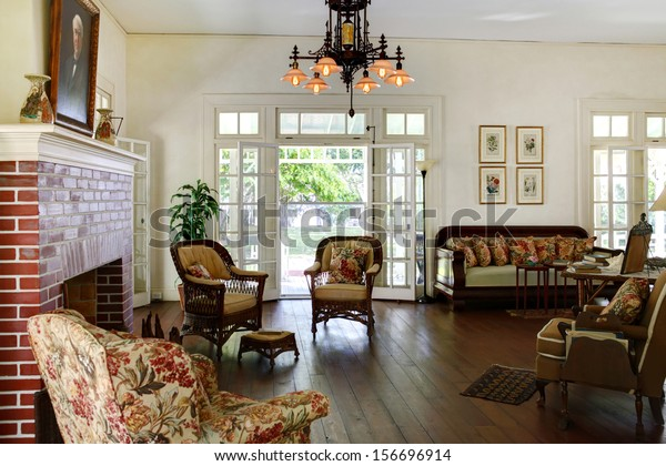 FORD MYERS,FL-AUGUST 26: Edison and Ford Winter Estates. Main Ford estate house museum. Antique living room. August 26, 2011 in Ford Myers, Florida.