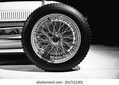 Ford V8 Monoposto Indianapolis Style of 1936 american vintage racing car on cars exhibition. Classic Car exhibition - Heydar Aliyev Center, Baku, Azerbaijan - 26,04,2017