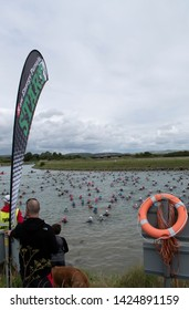 Ford, West Sussex, UK, June 15 2019 River Arun swim over the classic Ironman distance of 3.8km from Ford to Littlehampton. Start Line.