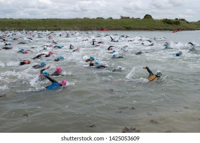 Ford, West Sussex, UK, June 15 2019, River Arun swim over the classic Ironman distance of 3.8km from Ford to Littlehampton. Race start.