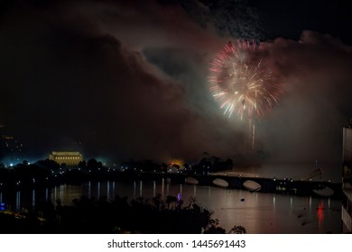 Foreboding smoke cloud looms with Independence Day fireworks over the National Mall in Washington DC
