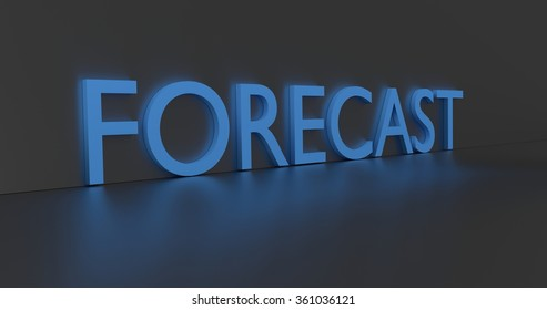 Forecast concept word - blue text on grey background.