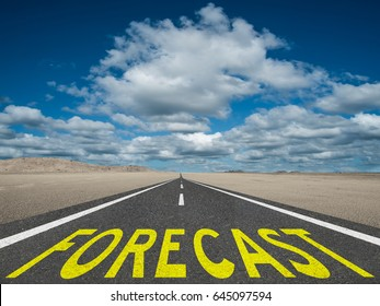 Forecast text on highway future trend predictions concept