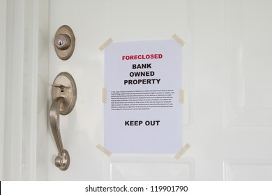 Foreclosed notice on a main door of a house