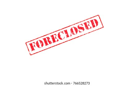 foreclosed rubber stamp on a white background red letters stencil