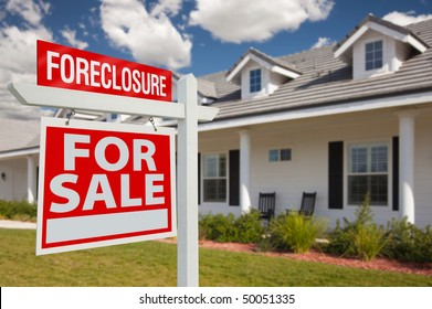 Foreclosure Home For Sale Real Estate Sign in Front of New House - Left Facing.