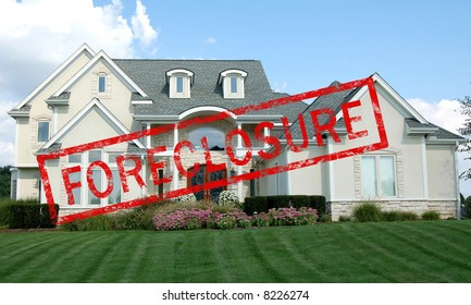 Foreclosure stamp across a luxury home