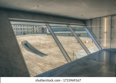 Forecourt of the Casa da Musica see from a room inside. Porto/Portugal - October 2nd 2018