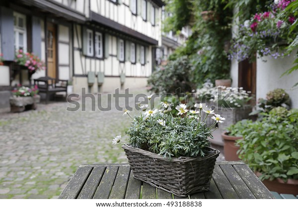 In the foreground a basket with daisies in the background (out of focus) Engelgasse historical street in the old town of Gengenbach, Black Forest, Baden-Wurttemberg, Germany