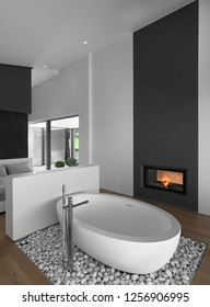 in the foreground of a freestanding bath resting on a bed of white pebbles in front of a modern fireplace in the bathroom, on the bottom there is the bedroom and the floor is made of wood