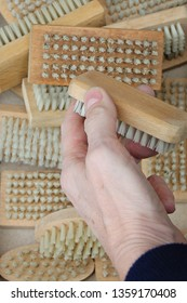 In the foreground, a hand holding a brush. At the bottom several brushes of different sizes and shapes.