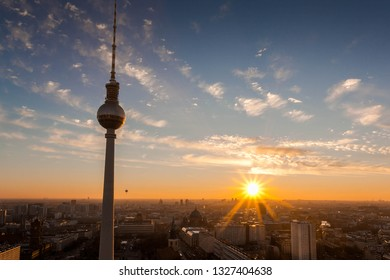 In the foreground the landmark of Berlin and in the background one of the most beautiful sunsets over Berlin. View from the Parkinn Hotel