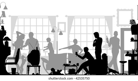 Foreground silhouette of a family gathering in a living room