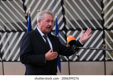 Foreign Affairs Minister Jean Asselborn of Luxembourg  attends a meeting of EU foreign ministers, at the European Council in Brussels, Belgium on July 12, 2021.