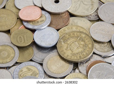 Foreign coins from Mexico, Guatemala, Canada and others