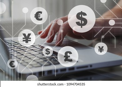 Foreign currency exchange concept, forex trading. Dollar, euro, pound and yen signs with businessman working on computer on background.