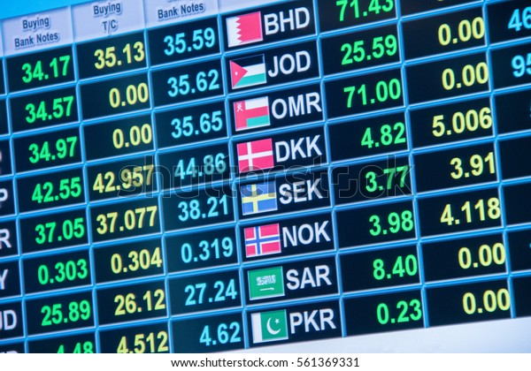 Foreign Currency Exchange Rates Stock Photo (Edit Now) 561369331