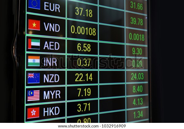 Foreign Currency Exchange Rates On Led Stock Photo (Edit Now