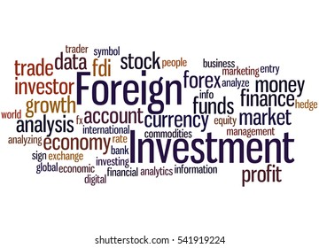 Foreign Investment, word cloud concept on white background.