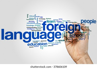 Foreign language concept word cloud background