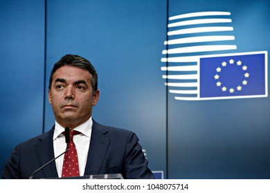 Foreign Minister of Macedonia Nikola Dimitrov gestures during a press conference at the issue of the EU-Macedonia Stabilisation and Association Council in Brussels on July 18, 2017 .