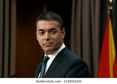 Foreign Minister of Macedonia Nikola Dimitrov gestures during a press conference at the issue of the EU-Macedonia Stabilisation and Association Council in Brussels on July 13, 2018