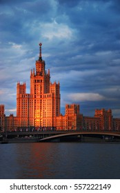 Foreign Ministry, Moscow, Russia, sunset over river, evening cityscape