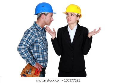 Foreman and architect having a difference of opinion