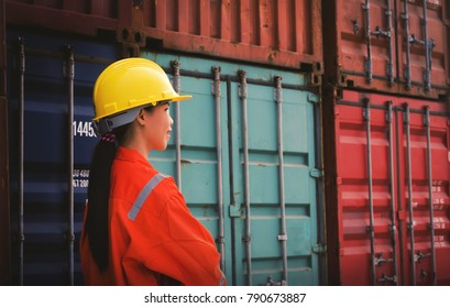 foreman check stock cargo or container in the container yard port international .