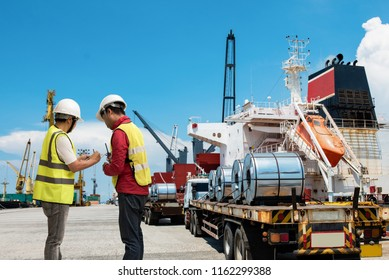 foreman checker, cargo inspector in charge to handle steel roll hot coils delivery to the ships in port terminal, checking and report update on line to the office by device network