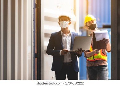 Foreman engineer working in container yard, Quality control Inspector using laptop for checking on container site, logistic store for import and export concept