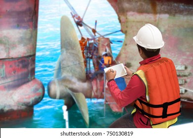 foreman report on line the progress of the repairing of shaft sealing in recondition for screw propeller of the ocean ship commercial vessel