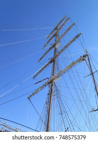 Foremast with spars and rigging in Gaeta harbor, Italy