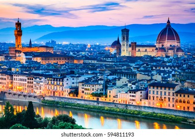 Forence, Italy. Beautiful sunset over Cathedral of Santa Maria del Fiore (Duomo), Firenze, Italia
