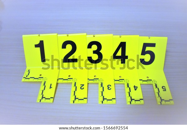 Forensic Evidence Markers Chronological Line Stock Photo Edit Now 1566692554