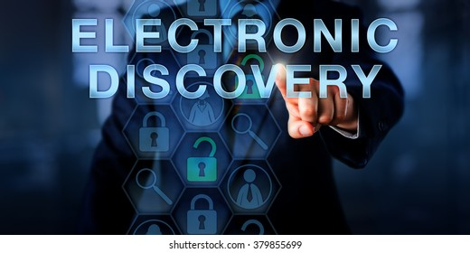 Forensic examiner is pressing ELECTRONIC DISCOVERY on a touch screen. Technology concept and business metaphor. Magnifier icons relate to the digital forensic process of identification of evidence.