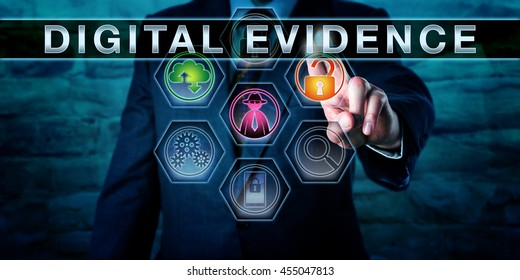 Forensic examiner is touching DIGITAL EVIDENCE on an interactive control screen. Business concept entailing digital forensics, evidence law and computer law. Close up torso shot of man in blue suit.