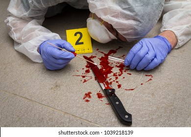 A forensic expert takes blood samples. A bloody knife find on the floor