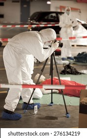 Forensics students on crime scene photographing
