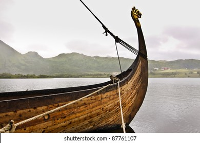 forepart of the Viking ship anchored at the harbour - Lofoten Islands