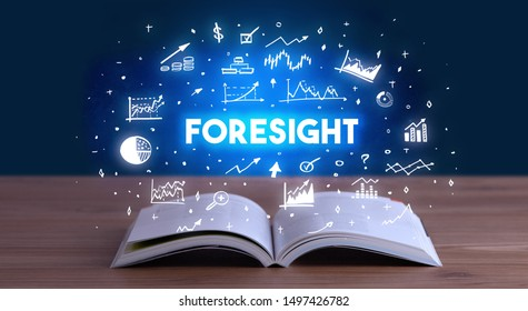 FORESIGHT inscription coming out from an open book, business concept